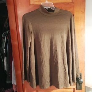 Army Green Mock Neck Bell Sleeve Sweater